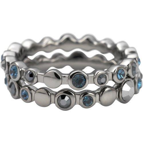 DKNY Damen-Ring grau poliert Set mit Montana und dunklen Indigo Swarovski Kristalle-Größe M 1/2