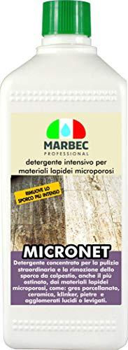 Marbec - MICRONET 1LT | Detergente intensivo per la rimozione dello Sporco ostinato su gres porcellanato e Materiali lapidei microporosi