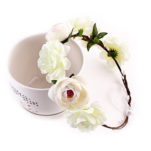 Yuccer Blumen Stirnband Mädchen, Böhmen Blumen Haarband für Damen Haarkranz Blumen für Hochzeit Festival Strand (Weiß) -