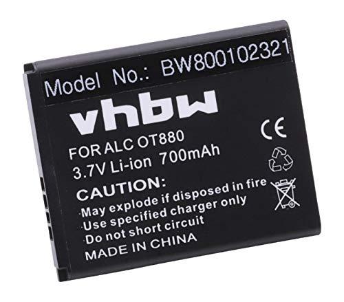 vhbw Li-Ion Akku 700mAh (3.7V) für Smartphone Handy Telefon Tracfone A392, A392G, OT-A392, OT-A392G, The Big Easy Flip