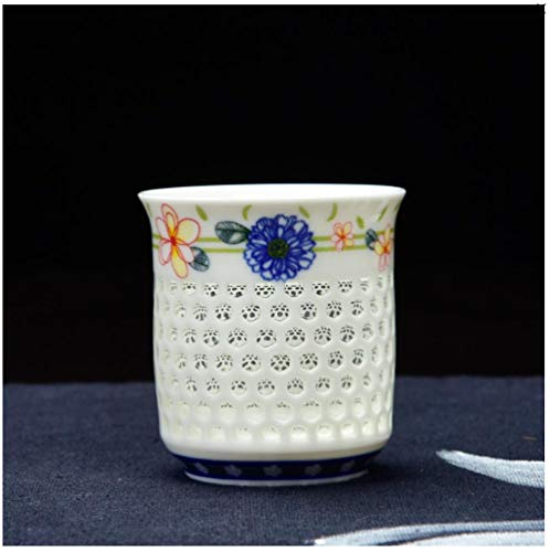 Coffee Cups And Coffee Cups Beer Mug With Blue And White Porcelain Honeycomb Shape, Ceramic, Blue And White