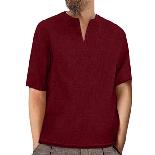 Xmiral Camicia Hawaiana Classica Casual a Maniche Corte Slim Fit T-Shirt a Manica Lunga con Scollo a V retrò Tops Bluse Uomo (M,Vino)