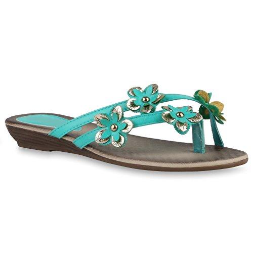 Damen Sandalen Strass Zehentrenner Beach Schuhe Grün Blumen
