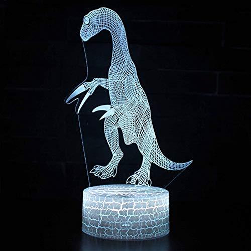 orangeww Dinosaurier 1 Thema 3d Led Illusion Lampe Nachtlicht/acryl Flach/schreibtischlampen Für Studie Led/weihnachtsbeleuchtung-dinosaurier-Fernbedienung 7 Farbe (Riss weiß)