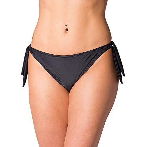 Aquarti Damen Bikinihose seitlich zum Binden Hüftslip, Farbe: Schwarz, Größe: 44