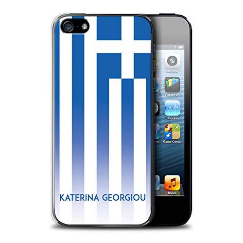 eSwish Personalisiert Individuell National Nation Flagge 3 Hülle für Apple iPhone 5/5S / Griechenland/Griechisch Design/Initiale/Name/Text Schutzhülle/Case/Etui