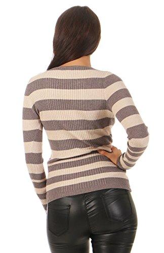 5582 Fashion4Young Damen Feinstrick Pullover Strickpullover Langarm Blockstreifen Rundhals cinder-beige