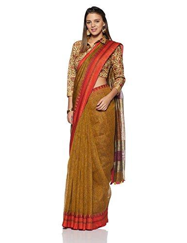 Gocoop Linen Saree With Blouse Piece (GCJRSLISAA0149_Mustard_One Size)