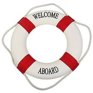 secretrain Bienvenue à bord vie nautique Bouée de sauvetage pour bateau piscine mur Home Decor 45cm