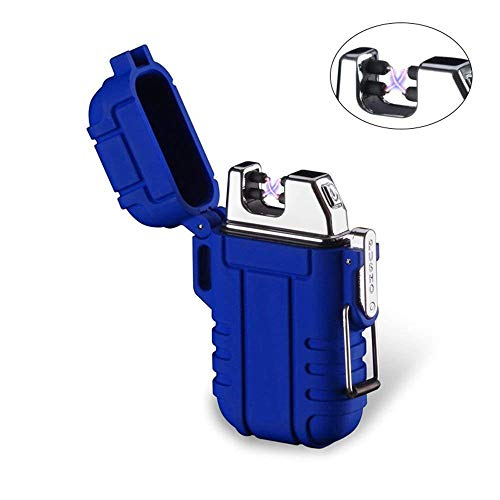Plasma-Feuerzeug, Teepao Dual Arc Lighter, USB wiederaufladbar, flammenloses Feuerzeug, winddicht, elektrisches Taschenfeuerzeug mit Umhängeband für Smoker Kerze Pfeife Grill Camping, blau