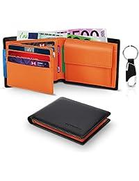 Geldbörsen Herren aus Echtem Leder RFID-Schutz Trifold Portmonaise, Geldbeutel Männer Klein mit Münzfach, 2 Banknotenfächern, 10 Portmonee Kreditkartenetui (ID-Fenster), Schlüsselhalter Portemonnaie