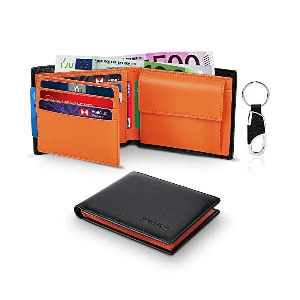 TEEHON® Portafoglio Uomo Slim Vera Pelle Blocco RFID, con Tasca Portamonete,2 Scomparti Banconote,10 Porta Carte di… 1 spesavip