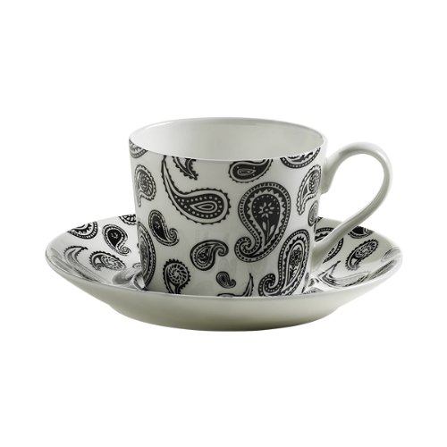Maxwell & Williams S84003 Art Deco Tasse mit Untertasse, Kaffeetasse, Paisley, in Geschenkbox, Porzellan - Art Deco Porzellan