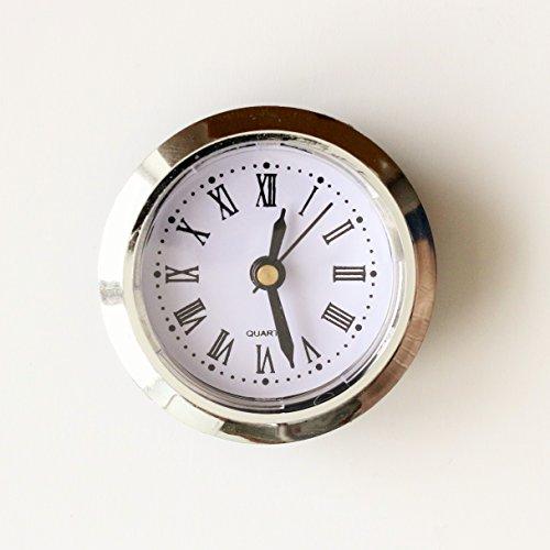 Einbau-Uhr Einsteckuhrwerk Einsteckwerk Einbauuhr Modellbau-Uhr Ø 50 mm Nr.11 (weiß-gold)