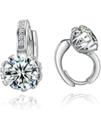 Yoursfs Shinning Round-cut Emulational Diamond 18k White Gold Plated Use Crystal Charm Earrings FAvf7