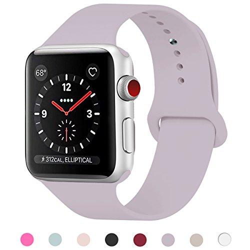 GIPENG pour Bracelet Apple Watch 42MM, Bracelet Sport Doux in Silicone Remplacement avec innovant de Fermeture à Clou et Passant pour Apple Watch Serie 1, Serie 2, Serie 3 (Lavande, 42MM-ML)