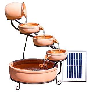 Solaray Terrakotta Solar Kaskadenbrunnen mit LED-Beleuchtung H55cm