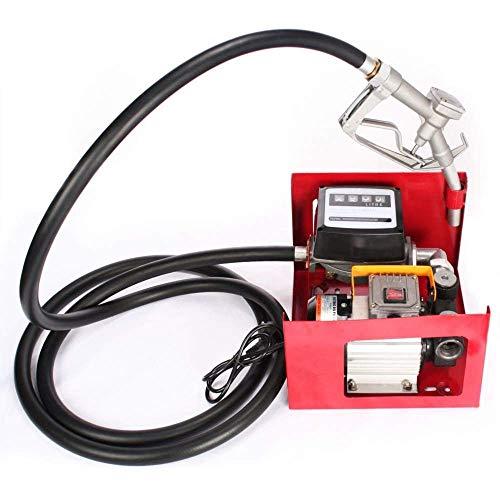 SucceBuy 550W Pompe à Fuel ou Gasoil Bio Autoaspirante 60 L/min Mobile Pistolet Auto