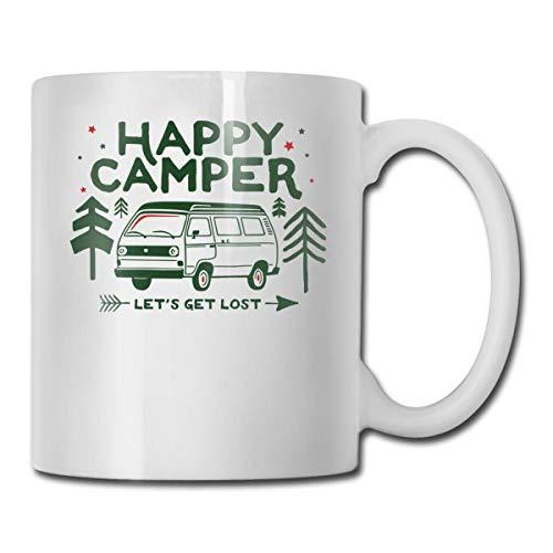 Daawqee Becher Coffee Mugs 11oz Funny Cup Milk Juice Or Tea Cup Happy Camper Birthday - Happy Becher Camper