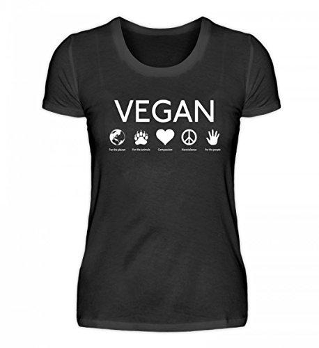 Hochwertiges Damen Organic Shirt - Vegan For The World and The Animals (Baumwolle Organische Geburtstag T-shirts)