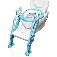 WC Niños Reductor WC Niños Acolchado Suave Plegable con Scalera Ajustable | Adaptador WC Niños Estable Antideslizante Sin Afilado | WC para Niños Azul & Niña Rosa|2019 Diseño exclusivo