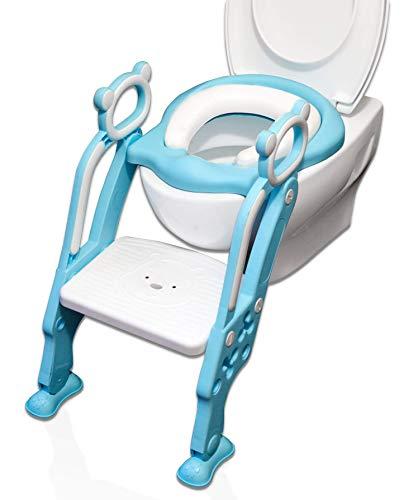 Toilettensitz Kinder & WC Sitz Kinder mit Treppe, Faltbar, Gepolstert | Toilettentrainer - Töpfchentrainer mit höhenverstellbarer Plattform | Für Jungs Blau & weiß |Töpfchen Sitz für Toiletten 38-42cm