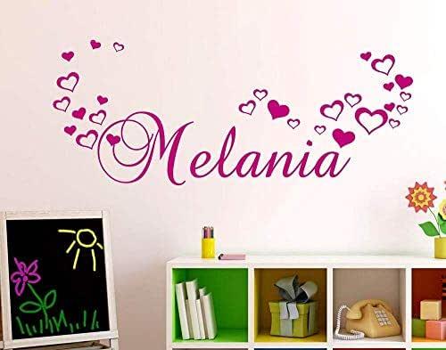Adesivi Murali Nome personalizzato bambini Adesivo Murale cameretta Wall Stickers Personalizzato Decorazione Cameretta Bambina bambino cuoricini con nome stickerdesign