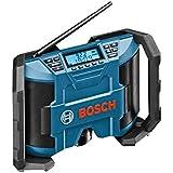 Bosch Professional GML 10,8 V-LI Akku-Baustellenradio (für 10,8 V Akkubetrieb, Aux-In (3,5 mm), ohne Akku, Netz-Adapter, Karton) schwarz/blau, 0601429200