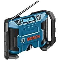 Bosch Professional GPB 12V-10 - Radio portátil (digital, AM, FM, 10 W, LCD, 1.4 kg, en caja de cartón, sin batería) color negro y azul