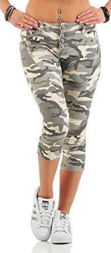 SKUTARI Damen - Boyfriend Jeanshose Camouflage 7/8 kurz Capri Shorts (D36/S, Army)
