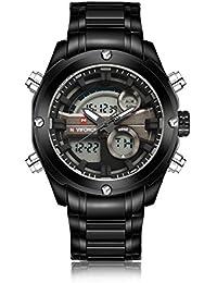 Naviforce reloj de hombres de moda deporte Militar analógico Digital cuarzo reloj de muñeca, indicador de fecha, alarma, temporizador (negro)