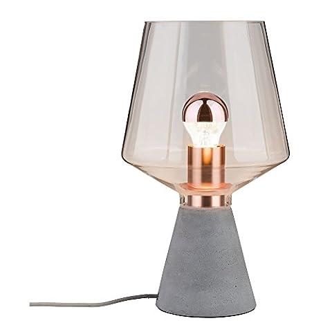 Paulmann 79665 Neordic Yorik Tischleuchte max.1x20W E27 Klar/Grau/Kupfer Glas/Beton/Metall (1 Tischleuchte)