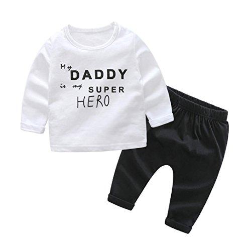 Kinder Kleidung Set,TUDUZ 2Pcs Baby Mädchen Jungen Langarm Baumwolle Strampler T-shirt Pullover + Hosen Outfits (Weiß-C, 0-6 Monate)