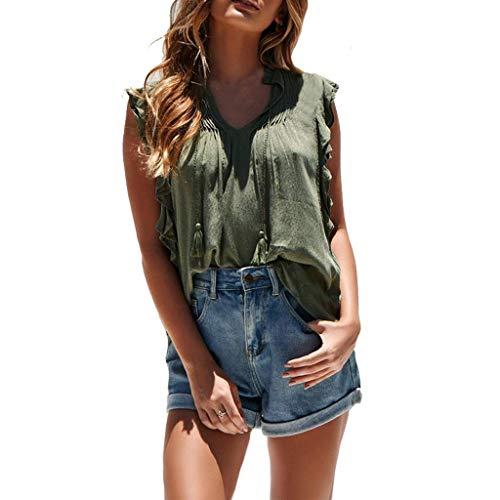 UJUNAOR Sommer Damen Casual Rüschen Ärmellos Weste T-Shirt Bluse Leibchen Tops(Small,Armeegrün)