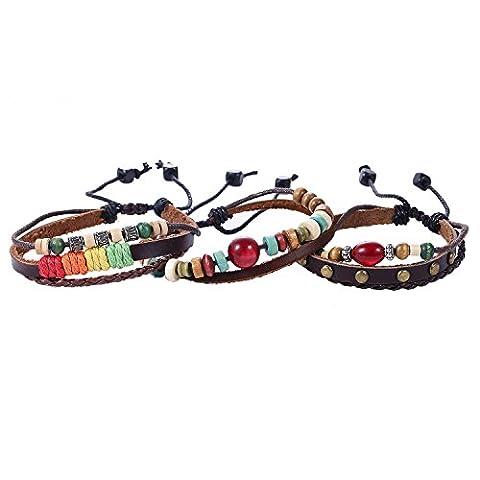 Morella Women's Braided Leather Bracelet Set 3 Pieces