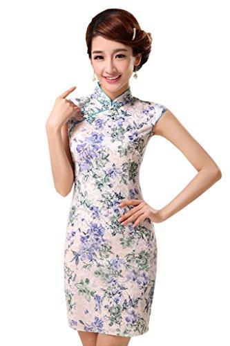 YueLian Damen Sommer Etuikleid Retro QiPao Kleid Mehrfarbig Stehkragen mit Kurzärmel Mehrfarben 2