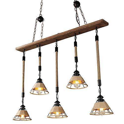 Lampe de cuisine style rétro industriel - 5 ampoules American Bar Cafe - Bois - Abat-jour en bois