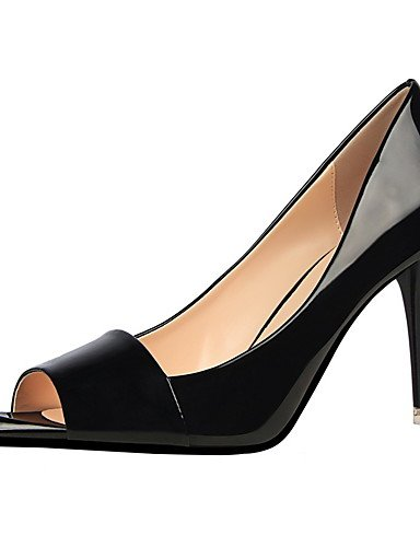 GS~LY Damen-High Heels-Kleid-Kunstleder-Stöckelabsatz-Absätze / Spitzschuh / Vorne offener Schuh-Schwarz / Lila / Rot / Silber / Grau / Hellgrün gray-us5.5 / eu36 / uk3.5 / cn35