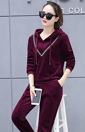 Tuta Felpe con cappuccio da donna da jogging in velluto tuta set 2 pezzi Rosso