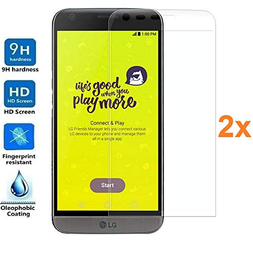 REY Pack 2X Panzerglas Schutzfolie für LG G5, durchsichtig, Bildschirmschutzfolie 9H+, Polycarbonat, Härte, Anti-Kratzen, Anti-Öl, Anti-Bläschen, 3D / 4D / 5D