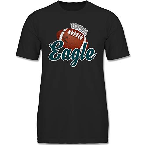 Sport Kind - 100% Eagle - 140 (9-11 Jahre) - Schwarz - F130K - Jungen Kinder T-Shirt (American Kinder Eagle)