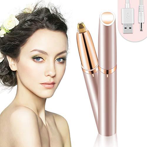 Bamoer Eléctrica Depiladora Cejas,Ceja Recortador,Eyebrows Trimmer Mujer Depiladora Facial Para,Depilacion de Cejas Carga USB (Oro rosa)