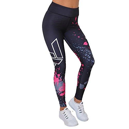 Amoyl Sport Leggings Frauen Drucken Dünne Yogahosen Leggings Hohe Taille Fitness Sporthose Laufhose Athletische Hose Lange Hosen (Schwarz, S)