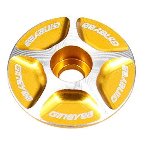 LoveOlvido Neue Aluminium Threadless 1/1-1/8 Rennrad MTB Fahrrad Vorbau Zubehör Bici Fahrrad Radfahren Headset Top Cap Cover Neue Marke Neue Marke - Golden -