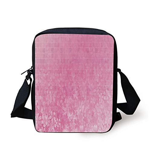 CBBBB Light Pink,Fractal Square Shaped Forms with Flower Garden on Front Spring Illustration,Baby Pink White Print Kids Crossbody Messenger Bag Purse - Front Pocket Hobo Bag
