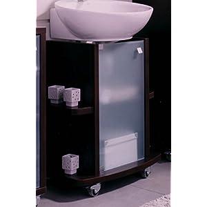 Abitti Mueble bajo para Lavabo, baño, o Aseo Color wengue con Cristal y estantes, 65 Ancho x 75 Alto x 42 Fondo