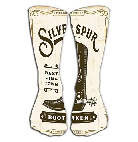 Western Boot Socken (Xunulyn Hohe Socken Women's Girls Men's Novelty Over Calf Knee High Socks Funny Boot Sock 19.7