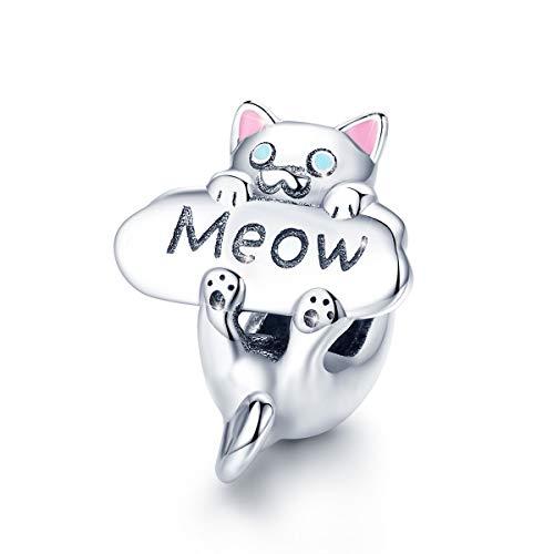 Abalorio de gato de plata de ley 925 con diseño de gato travieso, compatible con pulseras Pandora