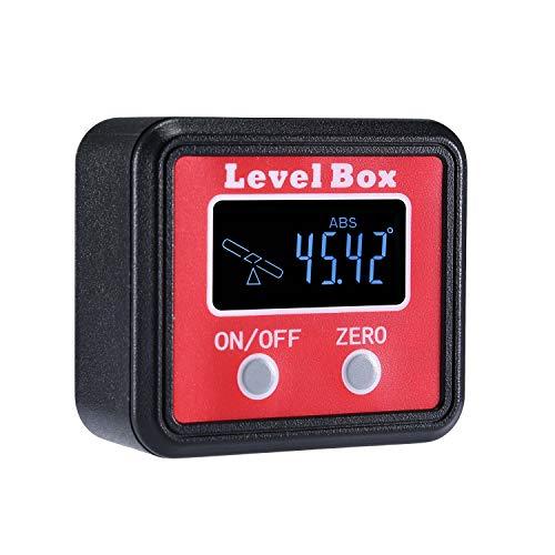 Digitaler LCD Winkelmesser Neigungsmesser Winkelsucher Winkelmessgerät Inklinometer Level Box mit Magnetfuß (Batterie enthalten)