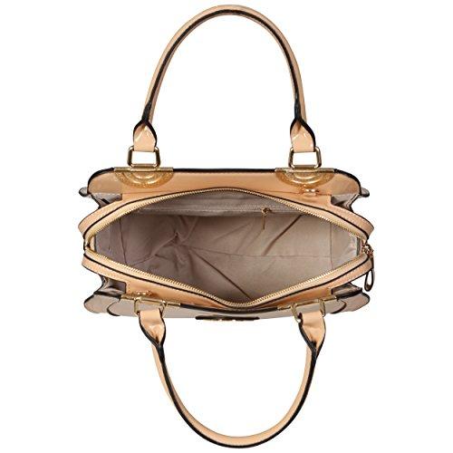 LeahWard® Übergröße Patent Schulter Taschen Damen Mode Essener Qualität Modisch Tote Handtaschen CWS00380 (OXFORD blau Tragetasche) nackt PATENT Tasche mit TREE LOGO